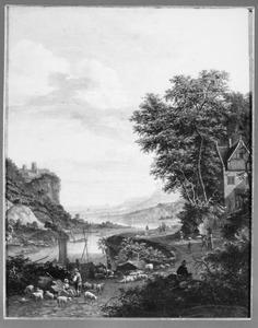 Rijnlandschap met  in de voorgrond een schapenhoeder
