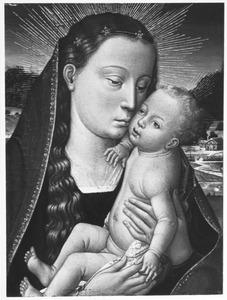 Maria met het christuskind knuffelend