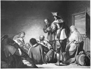 Wachtlokaal met slapende en kaartende soldaten en een jonge vrouw