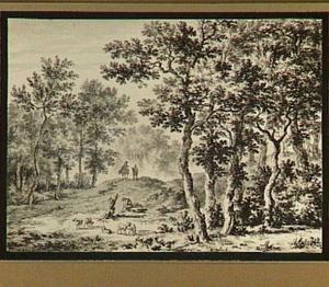 Boomrijk heuvellandschap met figuren en vee