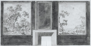 Zijwand met twee behangselvlakken met landschappen ter weerszijden van een schoorsteen
