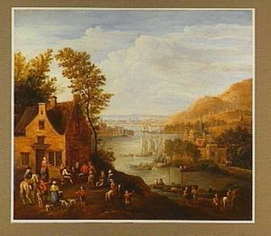 Reizigers bij een herberg aan een rivier