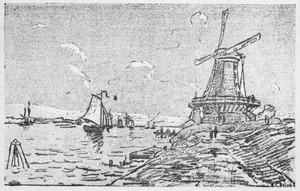 Gezicht op de toegang via het water naar Dordrecht