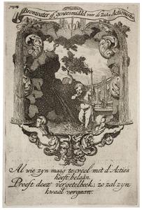 Allegorische voorstelling met een drinkende putto, in een cartouche