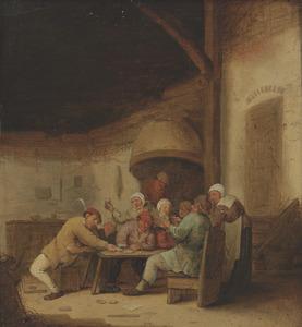 Kaartspelende en drinkende boeren in een herberg