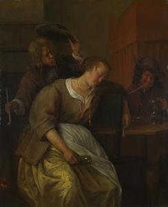 Interieur met een dronken vrouw en twee rokende mannen