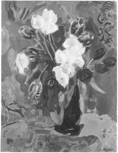Stilleven met tulpen in donkere vaas