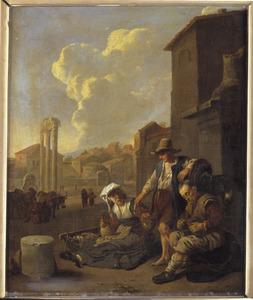 Gezicht in een zuidelijke stad met etende boeren; op de achtergrond het Campo Vaccino (Forum Romanum)