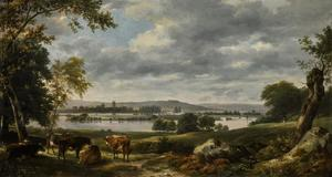 Dedham Vale bij de overstroming van de rivier de Stour gezien vanaf Old Hall, East Bergholt