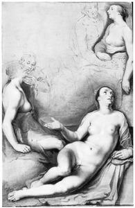 Liggende vrouw en twee zittende paren