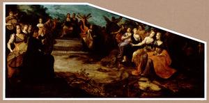 Allegorie op de Muziek: musicerend gezelschap vrouwen met engelen
