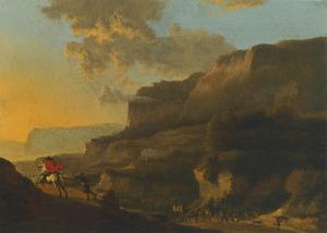 Italianiserend landschap met een overval op reizigers