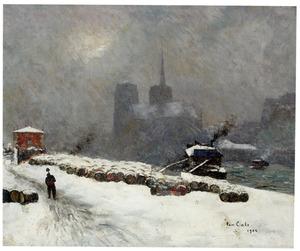 Gezicht op Parijs, bedekt met sneeuw