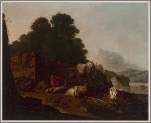 Italianiserend landschap met een rustende herder en zijn vee