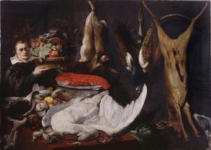 Jonge man met een mand vruchten bij een tafel met daarop jachtbuit en een kreeft op een gedreven zilveren schaal, erachter een opgehangen hert, fazant en hazen