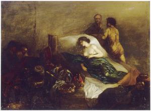 Ongeïdentificeerde allegorische voorstelling van een vrouw in bed omringd door kostbaarheden (?)