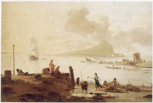 Mediterraan kustlandschap met krabbenvangers