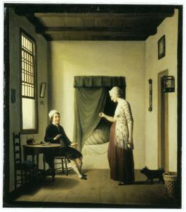 Man en zwangere vrouw in een interieur met een bedstee