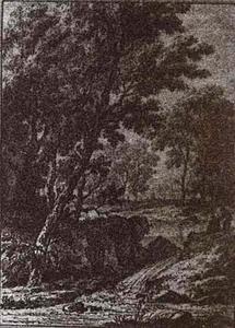 Arcadisch landschap met figuren kijkend naar een waterval