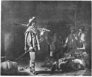 Converserende officier en soldaten in een wachtlokaal