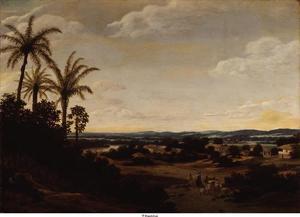 Braziliaans landschap buiten Mauritsstad, met links het zgn. Park de Vrijburg