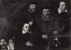 Portret van Herman Hendricxsz. van der Bies (1505-1572), zijn twee zoons drie kleinzoons