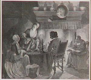Interieur met koffie drinkende en lezende figuren