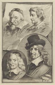 Portretten van een man genaamd Frans Hals (1582-1666), van Wenzel Coebergher (1560-1634), Lucas van Uden (1595-1672) en Wybrand de Geest (1592-?)
