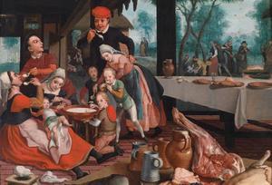 Rijke familie eet melkrijst terwijl in de achtergrond armen door nonnen worden gevoed