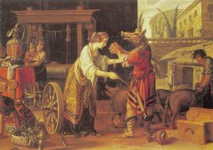 Circe verandert de metgezellen van Odysseus in varkens