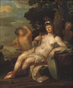 Pallas Athene met twee putti in een landschap