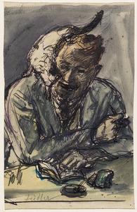 Zelfportret Fiedler met zijn kat