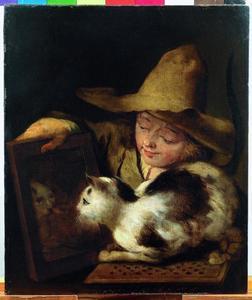 Jongen die een kat een spiegel voorhoudt; allegorie op het Gezicht