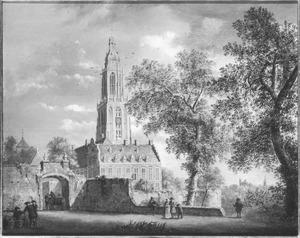 Gezicht op de Westpoort van Rhenen met daarachter het Koningshuis en de Cuneratoren