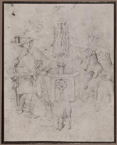 Schaapherder met kudde bij fontein