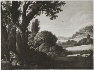 Maria Magdalena biddend in een heuvelachtig landschap