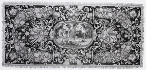 Bloemtafelkleed met een centale voorstelling van Orpheus