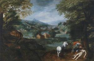 Landschap met de barmhartige Samaritaan (Lucas 10: 30-37)