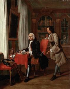 Een voornaam heer aan zijn schrijftafel met een bediende die op de brief wacht