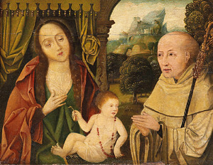 Maria met kind en de H. Bernardus van Clairvaux