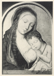 Maria met het slapende kind tegen haar borst