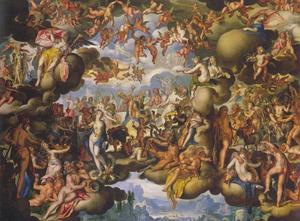 De bruiloft van Peleus en Thetis in de wolken
