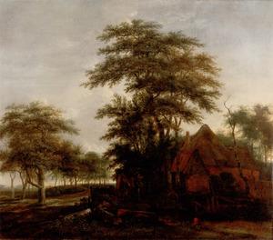 Boslandschap met een boerderij aan een landweg