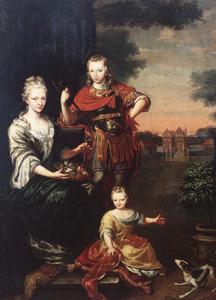 Portret van Tete Maria de Coninck (1696-1717), (Justus) Zeino Abel de Coninck (1699-1742) en Justina Abelina de Coninck (1704-1734), op de achtergrond Huis te Peize