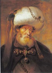 Portret van een man met baard en tulband