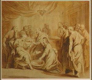 Christus wast de voeten van Petrus (Johannes 13:3-10)