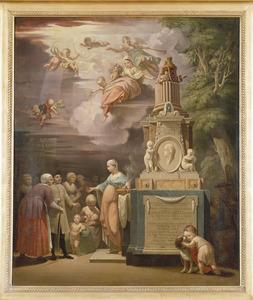 Allegorische voorstelling ter herdenking van het overlijden van Maria Margaretha Corver