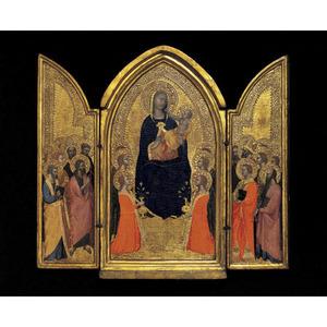 Drieluik met Maria met kind en heiligen