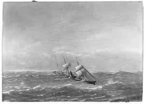 Het schroefstoomschip 4e klasse Zr. Ms. Riouw zeilende in de Indische Oceaan