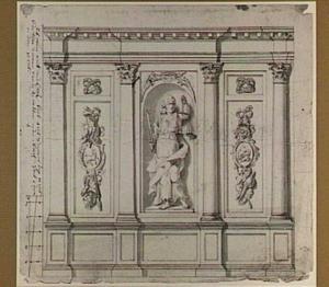 Ontwerp voor een wanddecoratie met Justitia in een nis en trofeeën